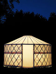 GoYurt Shelters portable yurt at night